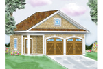 One story garage has charming shingle siding and arched garage doors